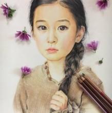 可爱大眼睛麻花辫小女生彩铅手绘教程图片 清纯童真的女孩彩铅画画法 怎么画