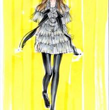 时装/服装设计蕾丝纱质材质马克笔的画法 服装蕾丝纱裙马克笔上色教程