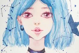 带颈部项圈的气质星空女孩水彩画手绘教程图片
