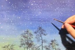 唯美的水彩星空液晶效果手绘教程图片 夜晚的星空水彩画画法 怎么画