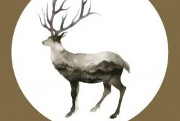 惊艳的鹿水彩手绘画教程图片 鹿的身体用山水填充 很有意境唯美