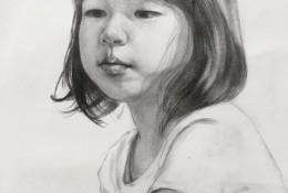 单眼皮女孩素描头像手绘画教程图片 小女孩半身像素描画法 怎么画
