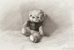小熊布娃娃景物素描手绘画教程图片 布娃娃熊怎么画 熊布娃娃素描的画法