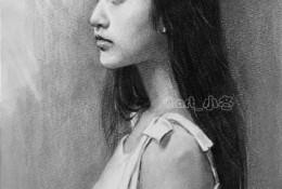 甜美气质长发女生侧身半身像素描手绘画教程图片 气质美女侧身素描头像画法