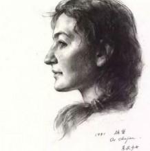 广州美院教授区础坚素描作品图片 美院老师的人像素描作品图片欣赏