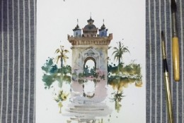 老挝凯旋门建筑水彩画手绘教程图片 世界知名建筑水彩画画法