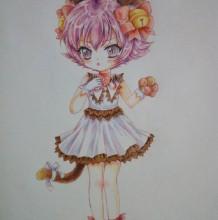 超萌可爱的猫娘彩铅画手绘教程图片 可爱的萌妹子猫咪装扮彩铅画法 上色步骤