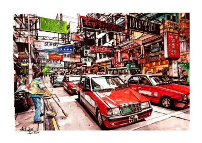 超震撼馬克筆城市街景圖片 寫實逼真的香港城市街道手繪馬克筆畫法