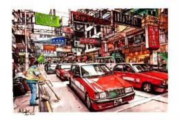 超震撼马克笔城市街景图片 写实逼真的香港城市街道手绘马克笔画法 上色