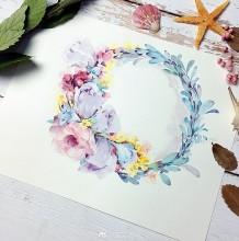唯美有意境的花卉花环水彩手绘教程图片 花朵植物花环水彩画画法