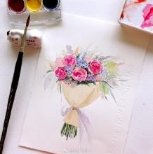 精美包装好的鲜花水彩画手绘教程图片 一束精美鲜花的水彩画画法 节日礼物