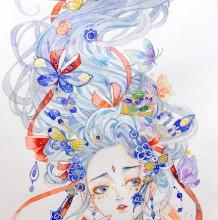 超美艳长发女子动漫人物水彩插画教程图片 蝴蝶纷飞婉约气质美女