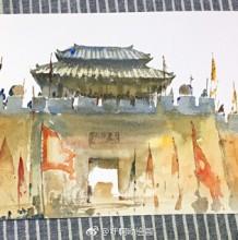 中式古城墙门楼手绘教程图片 古城门建筑水彩画教程 上色步骤