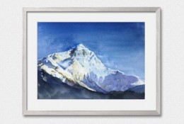 雪山山峰水彩画手绘教程图片 巍峨的雪山山峰风光水彩画法 上色步骤
