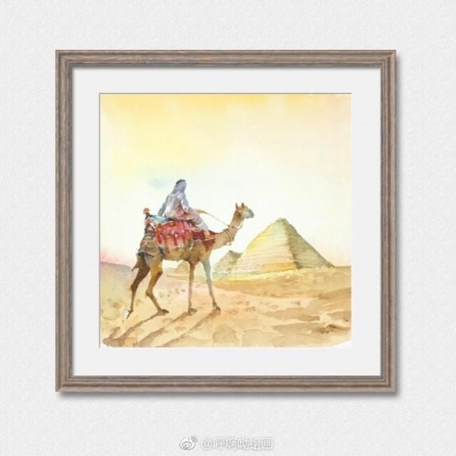 沙漠骆驼旅行人风光水彩画手绘教程图片 骑着骆驼穿行