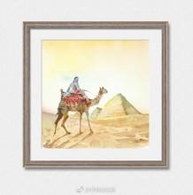 沙漠骆驼旅行人风光水彩画手绘教程图片 骑着骆驼穿行与沙漠的行者画法