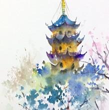 鸡鸣寺建筑水彩画手绘教程图片 古寺塔鸡鸣寺写生水彩画画法 上色步骤