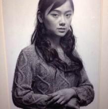超写实主义大师冷军女人像素描作品图片 近距离细节展示 大神牛人神作