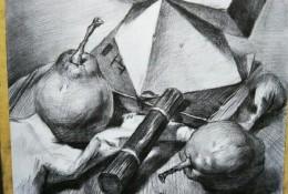 一组常见静物素描临摹范本参考图片 几何石膏形体,水果苹果,罐子等