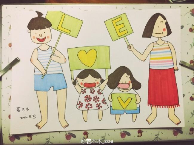 快乐幸福的一家简笔画教程图片马克笔上色步骤爸爸妈妈和孩子亲自