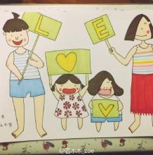 快乐幸福的一家简笔画教程图片 马克笔上色步骤 爸爸妈妈和孩子亲自儿童画画
