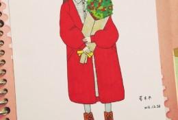 捧着鲜花的文静女生插画教程图片 马克笔上色步骤教程画法