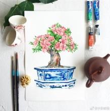 精美花卉盆栽植物水彩画手绘教程图片 花朵盆栽植物水彩画法步骤教程