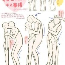 最萌身高差情侣接吻插画姿势教程图解画法 漫画里身高差情侣怎么接吻画法