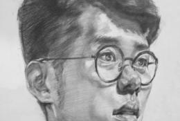 戴眼镜的男青年侧身人像素描教程图片 从构图到上色结构讲解