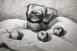 茶水壶苹果梨子白布静物素描画教程图片 有分解步骤演示