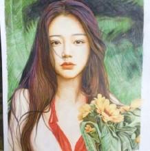 气质长发美女彩铅画手绘教程图片 气质美女彩铅画法 气质美女彩铅怎么画