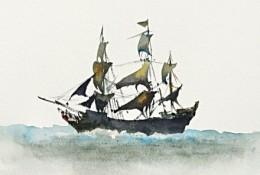 大海里的帆船水彩画手绘教程图片 有意境的黑珍珠号海盗船水彩画怎么画 画法