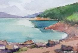 水彩实景写生手绘教程图片 山水岸边水彩写生画画法 有照片比对