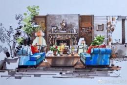 室内设计效果图马克笔上色图片 家装客厅,卧室,阁楼钢笔马克笔手绘作品