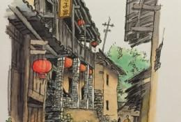 中国传统建筑街巷马克笔手绘教程图片 带马克笔上色步骤和线稿