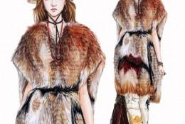 怎么用水彩表现皮草的质感手绘教程图片 服装设计皮草的表现手法方法画法