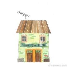 用水彩画简单可爱的小房子图片 适合新手练习水彩上色哦