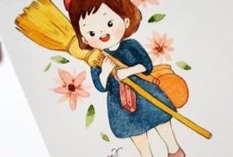 超可爱的小女孩水彩简笔画图片 各种姿势小女生水彩画图片