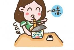 可爱吃泡面的小女生简笔画图片手绘教程