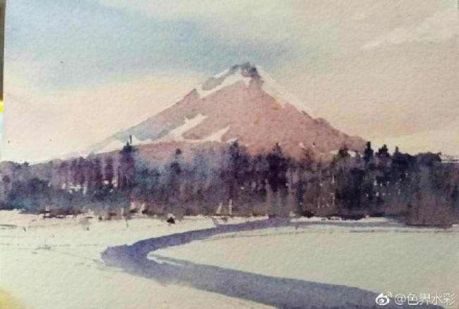 超简单的风景雪景水彩手绘教程图片 雪景水彩怎么画 雪景水彩的画法