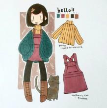 一组可爱少女的马克笔简单插画手绘作品图片 有是日常服饰穿搭和生活
