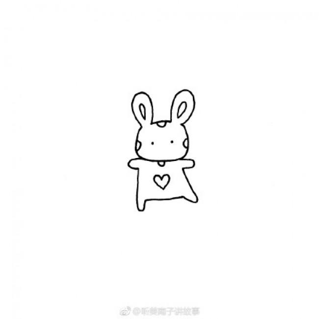 可爱活泼玩耍的小兔子简笔画画法教程图片 玩球的小兔子简笔画