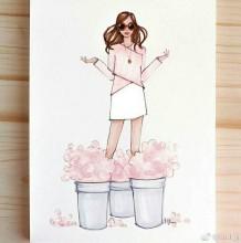 一组夏天时尚气质女生彩铅画图片手绘教程 模特的感觉 好身材