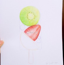 水果棒冰彩铅画图片 夏日冰爽水果冰棍手绘教程 雪糕水彩画画法