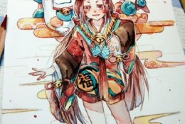 阴阳师座敷童子水彩画图片作品 精美的座敷童子水彩画插画素材
