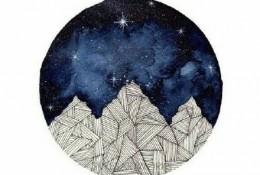月亮水彩画图片 满月月亮水彩的画法 星球水彩画图片作品