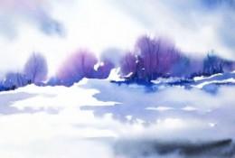很简单但是很美的晕染效果风景水彩画图片作品欣赏