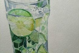 透明玻璃杯柠檬水水彩画图片 柠檬苏打汽水玻璃杯水彩画手绘教程画法