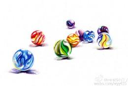 小时候玩的玻璃弹珠彩铅画教程 手绘步骤过程图片 玻璃珠怎么画 玻璃球画法
