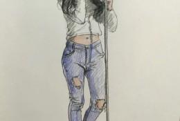 人物速写全身素描图片 女生全身人像素描彩铅速写图片素材 不同姿势